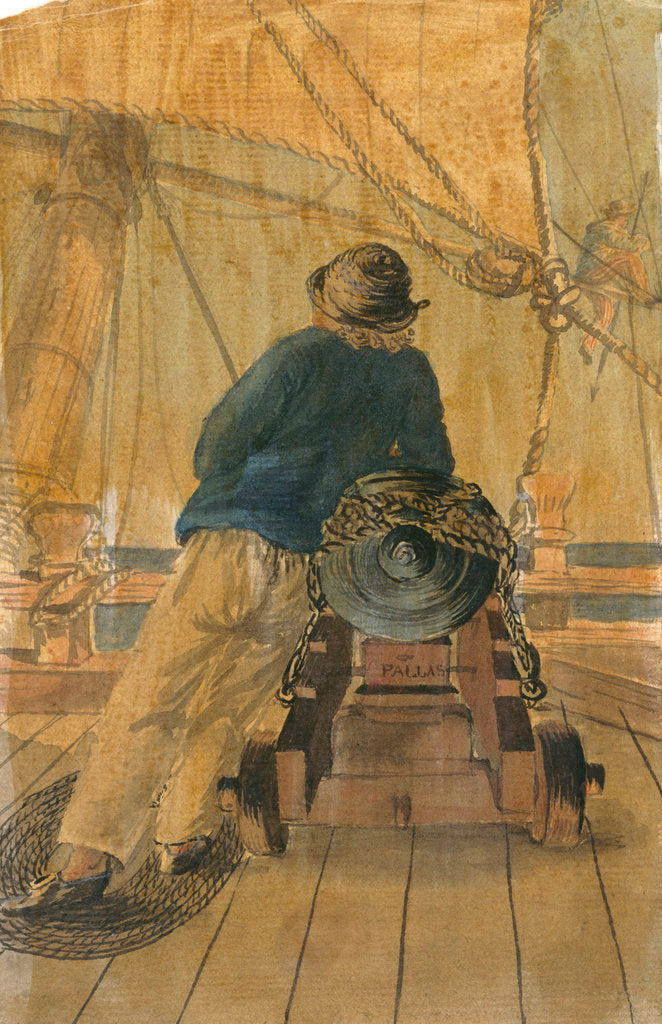 Detail of Seaman leaning on a gun on the 'Pallas' by Gabriel Bray