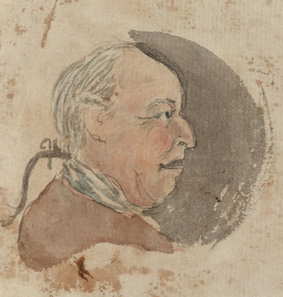 Detail of Profile of a middle-aged man with a pigtail by Gabriel Bray