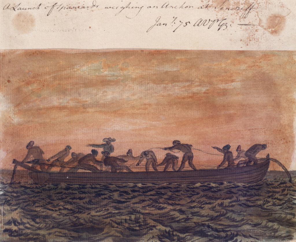Detail of A Launch of Spaniards weighing an Anchor at Tenerife by Gabriel Bray