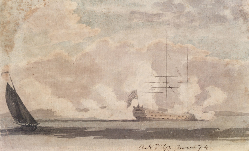 Detail of Anchored warship firing a salute by Gabriel Bray
