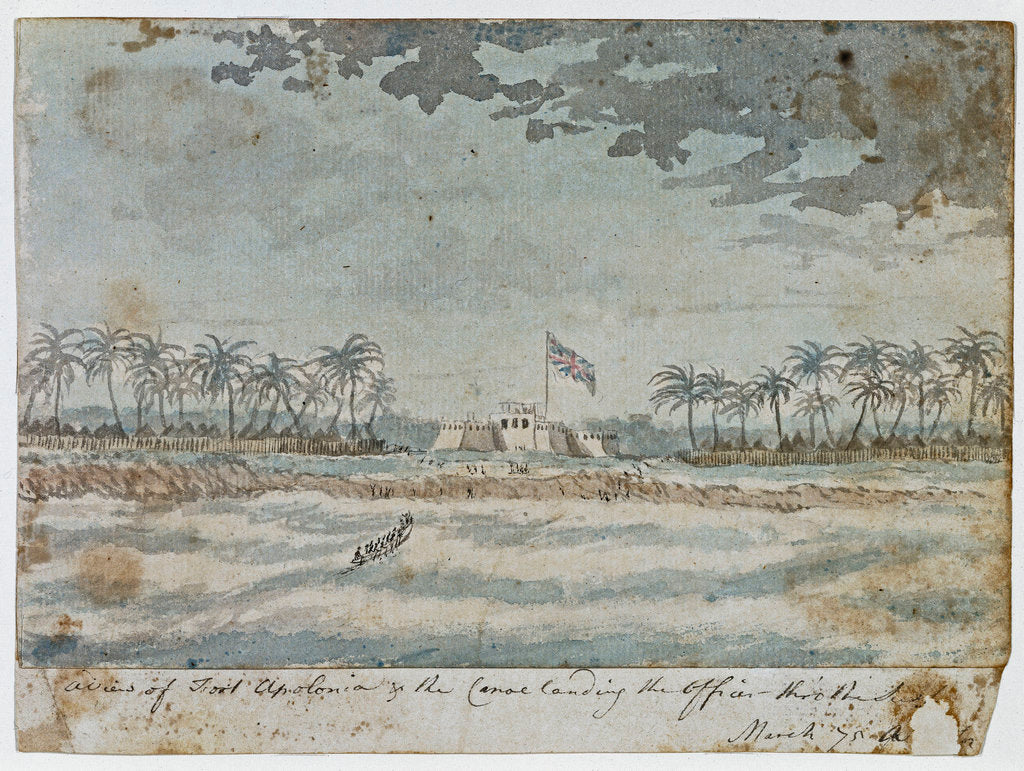 Detail of A View of Fort Apolonia & the canoe landing the officer thro' the Surf, March 1775 by Gabriel Bray