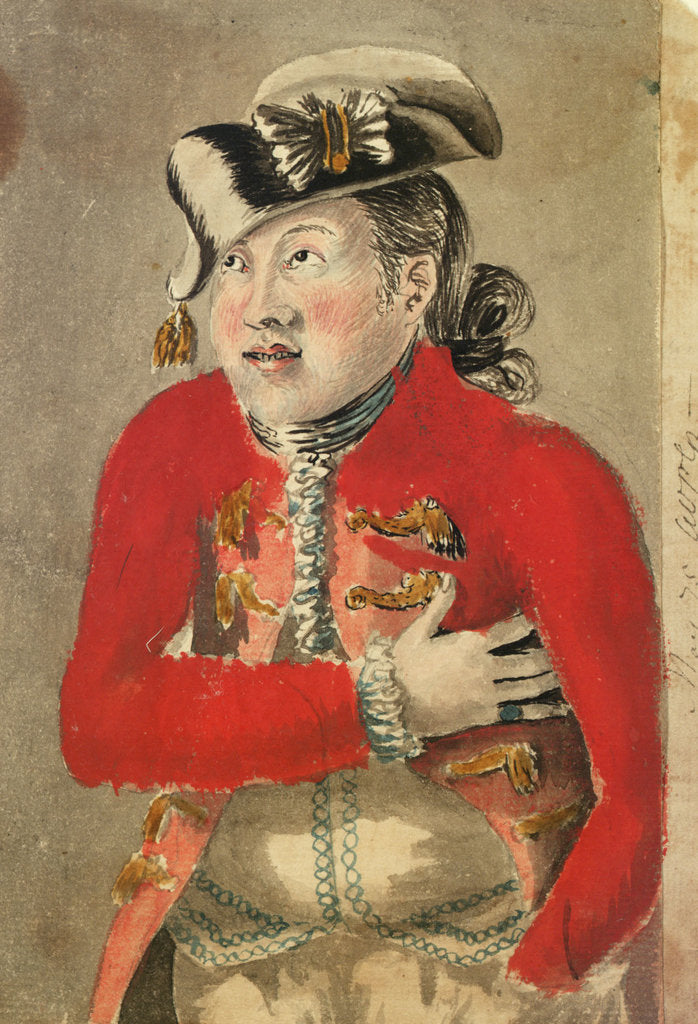 Detail of A man in a red frogged coat and tassled cocked hat by Gabriel Bray