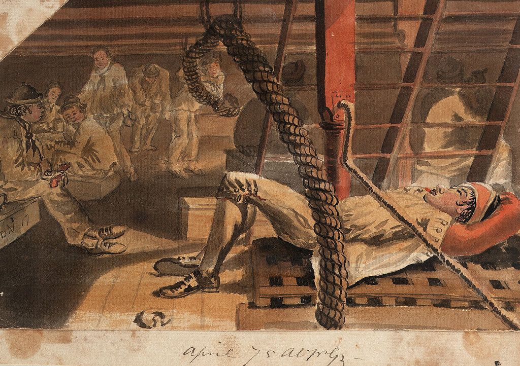 Detail of A Marine asleep beneath a companionway on the 'Pallas' by Gabriel Bray