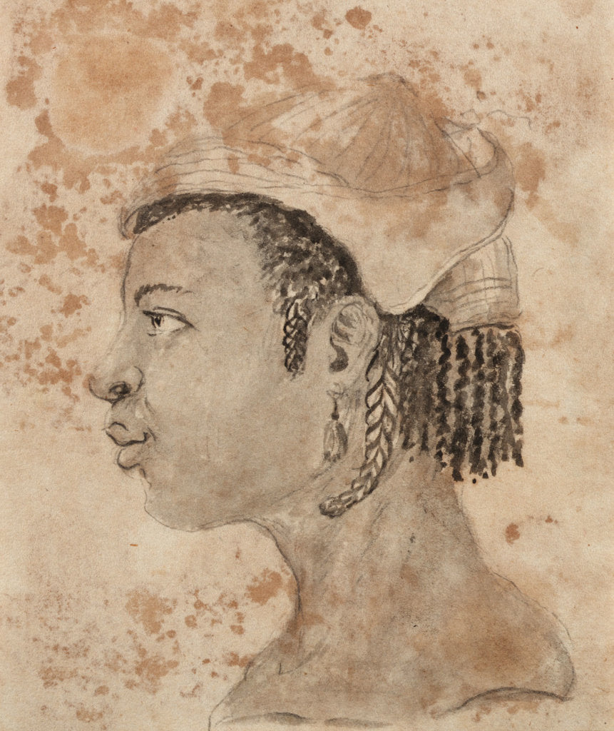Detail of Head of a West African woman, wearing a hat, in left profile by Gabriel Bray