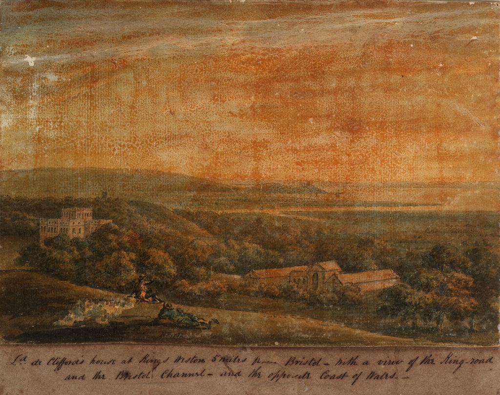 L[or]d de Cliffords house at Kings Weston 5 miles from Bristol - with a View of the King-road and the Bristol Channel - and the opposite coast of Wales by N. F.