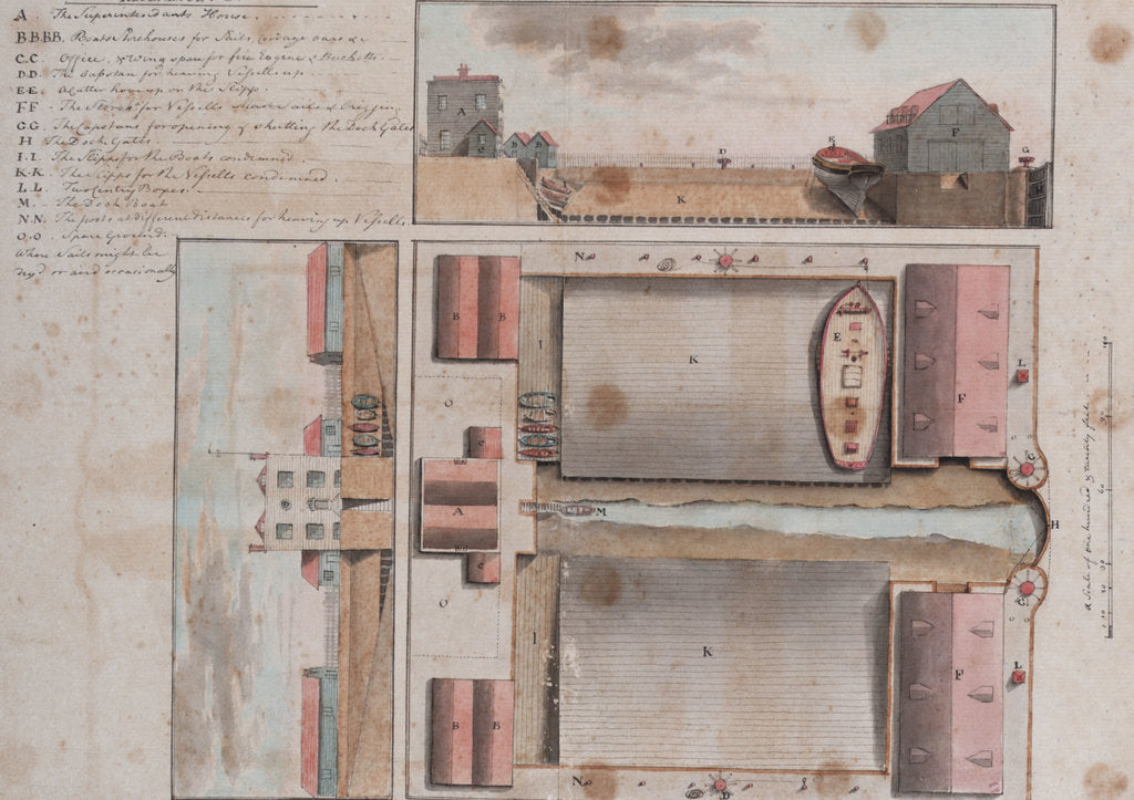 Detail of Plan and two sections of a proposed dockyard, possibly at Deal by Gabriel Bray