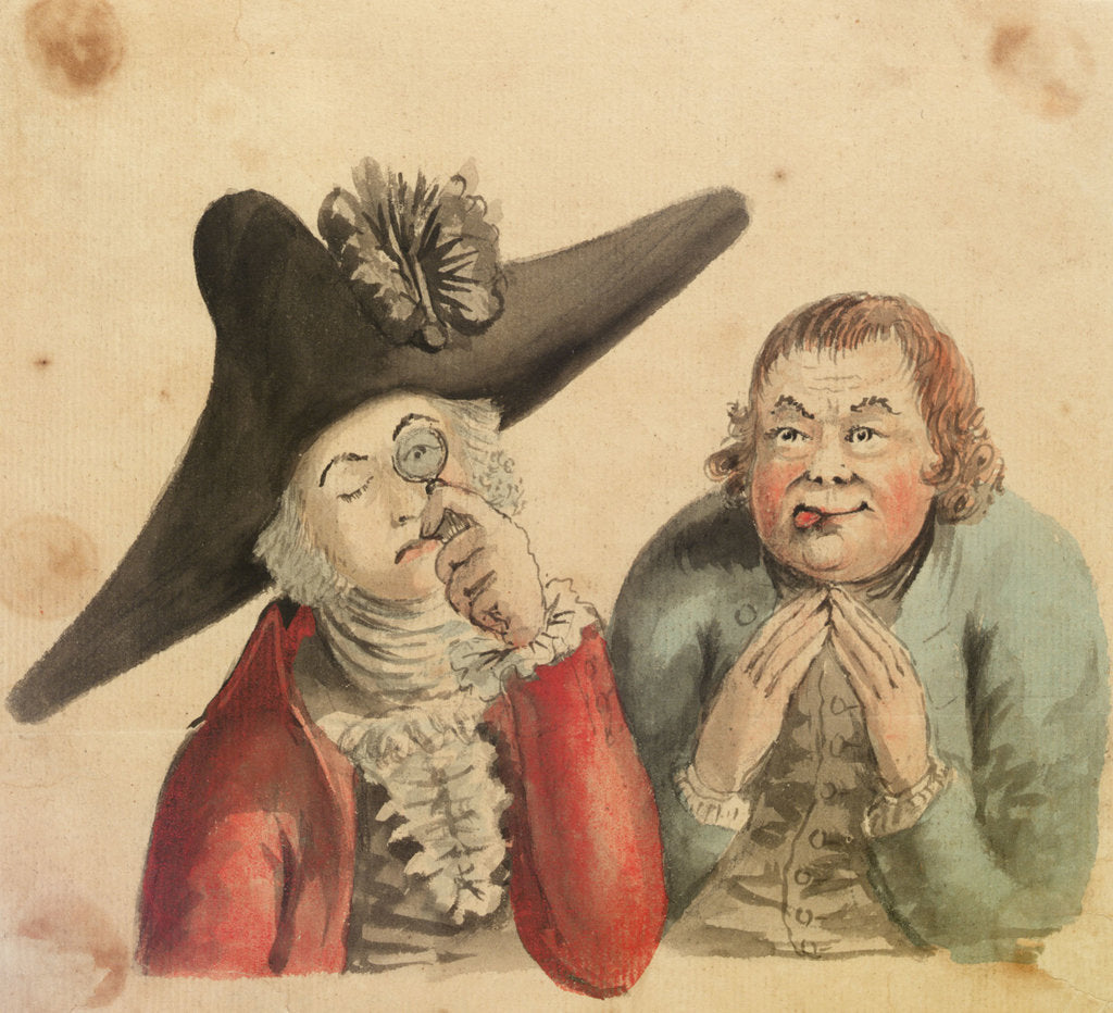 Detail of Two male figures, one with a large cocked hat and a quizzing glass by Gabriel Bray