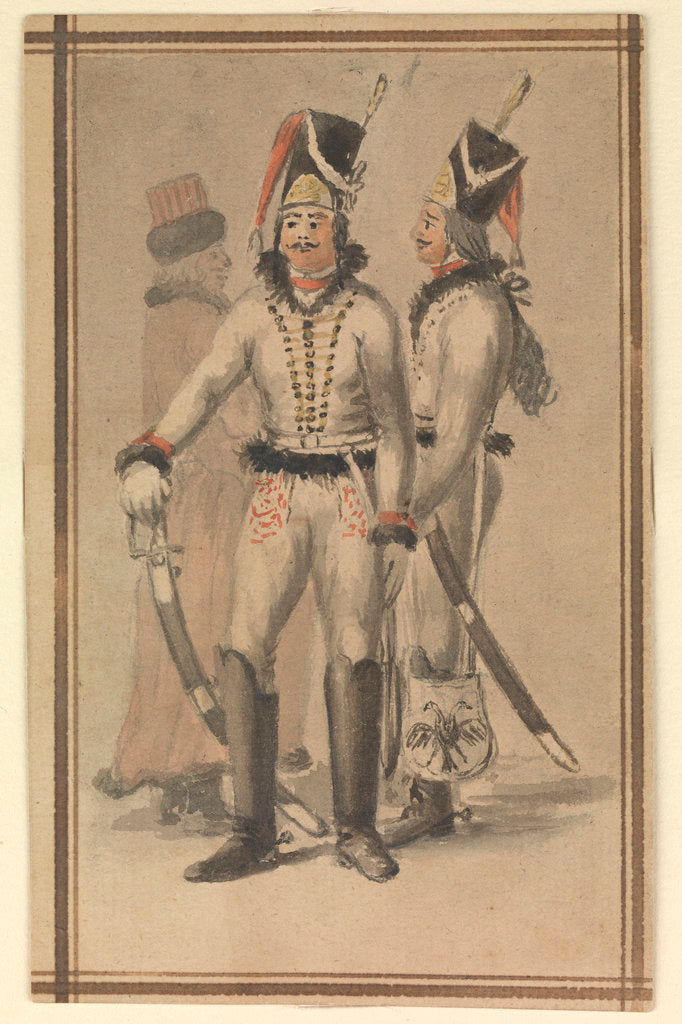 Detail of Figures in Russian (?) military uniform by Gabriel Bray