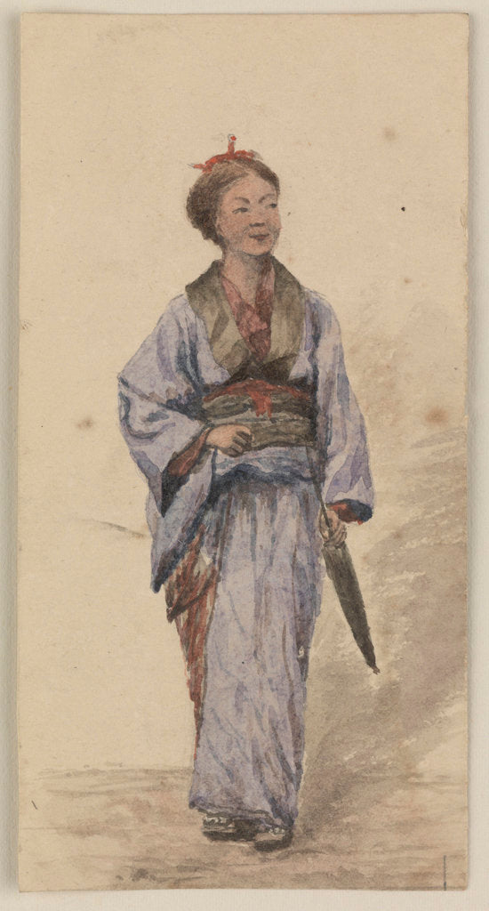 Detail of A Japanese girl with a parasol by James Henry Butt