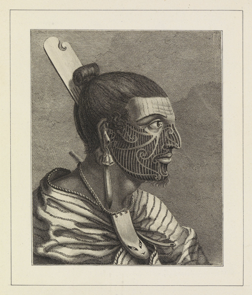 Detail of Head of a New Zealander, with a comb in his hair by Sydney Parkinson
