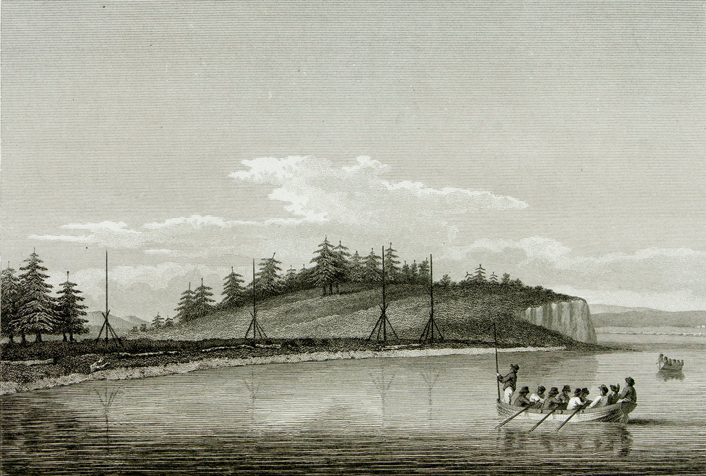 Detail of Naval launch approaching a shoreline covered with fir trees by unknown