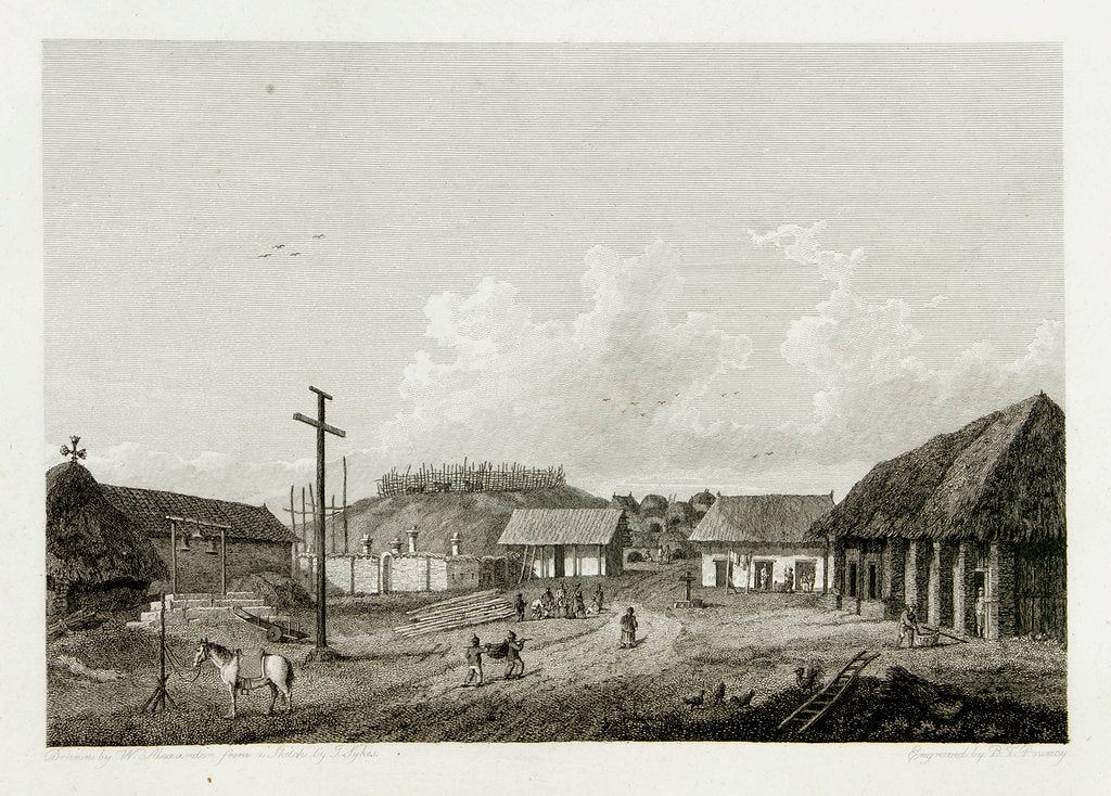 Detail of View of a town with cow being slaughtered in background by William Alexander