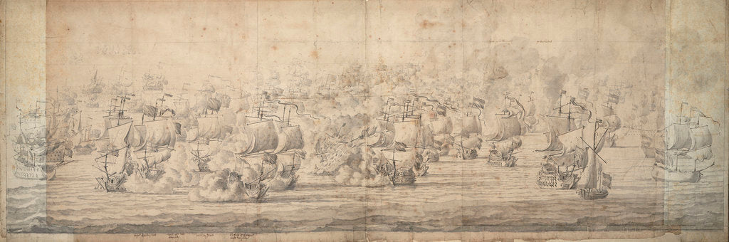 Detail of The Battle of Lowestoft, 3-13 June 1665 by Willem van de Velde the Elder