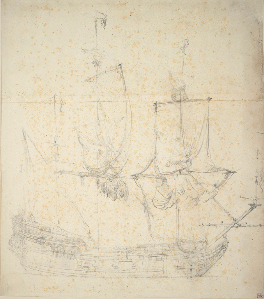 Detail of Portrait of a Dutch frigate by Willem van de Velde the Elder