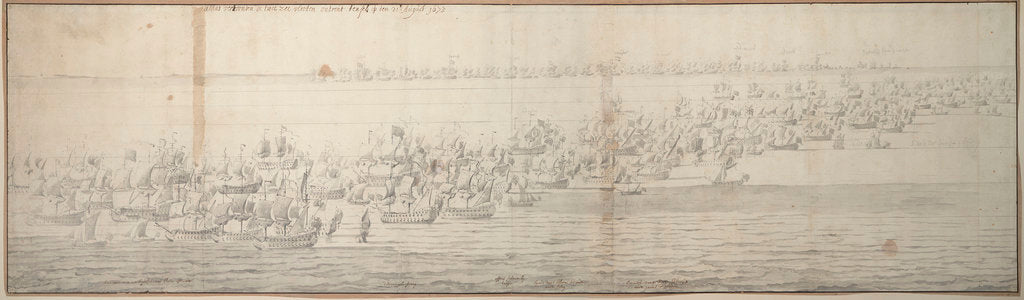 Detail of The Battle of the Texel (Kijkduin), 11/21 August 1673, first part by Willem van de Velde the Elder