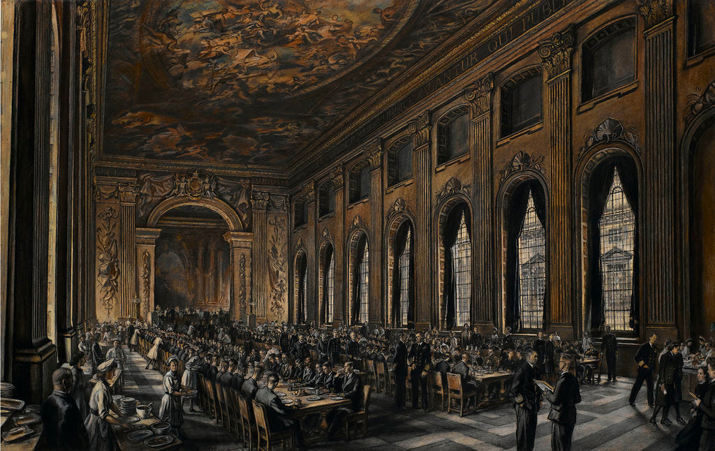 Detail of Officers dining in the Painted Hall during WWII by Muirhead Bone