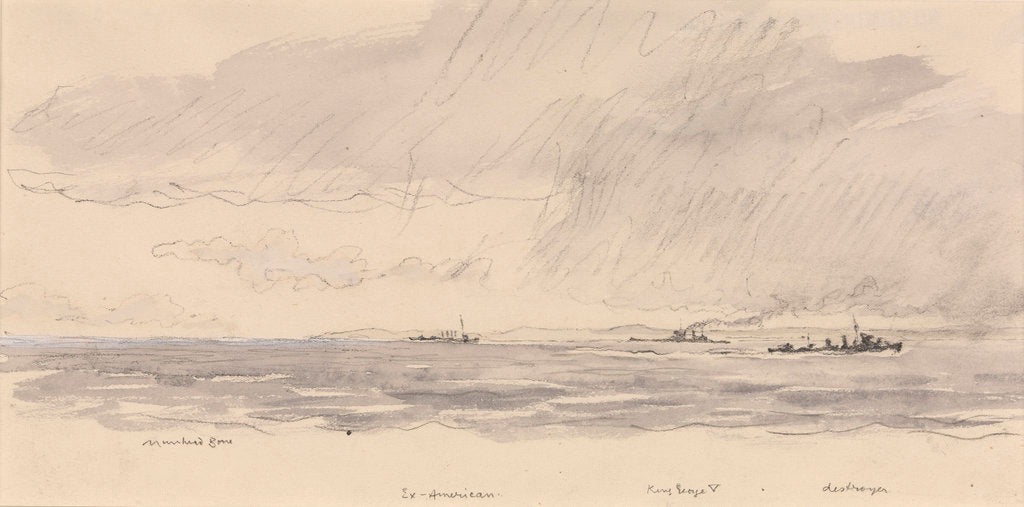 Detail of HMS 'King George V' at sea, edge of a storm by Muirhead Bone