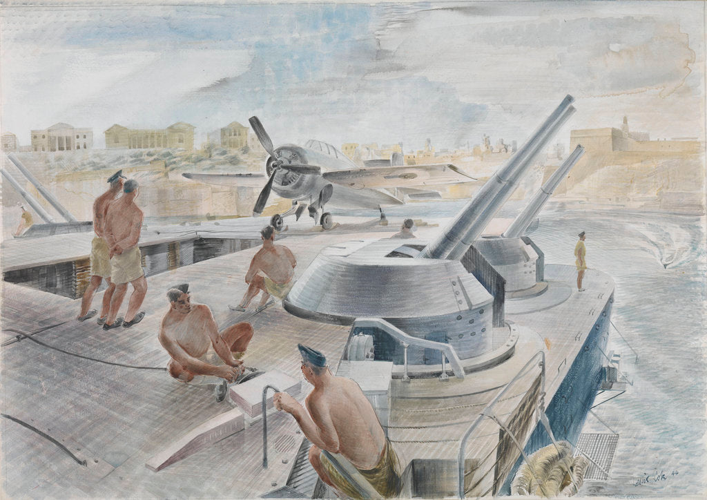 Detail of 'Illustrious' returns to the Grand Harbour, Malta by Leslie Cole