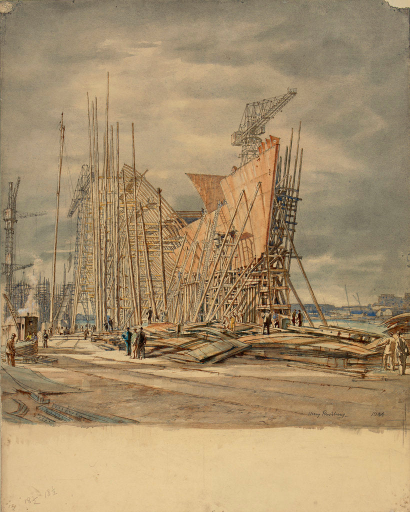 Detail of Shipbuilding by Henry Rushbury