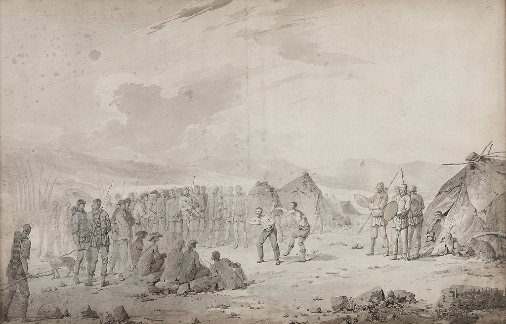 Detail of Captain Cook's meeting with the Chukchi in 1778 by John Webber