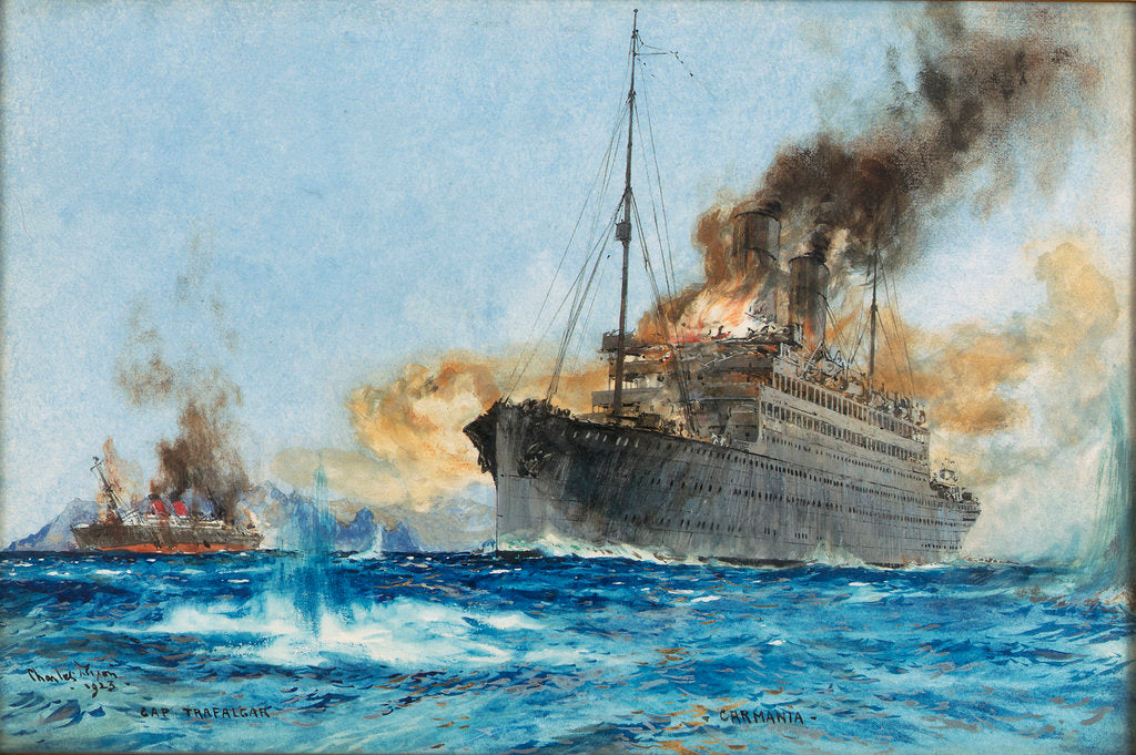 Detail of 'Carmania' sinking 'Cap Trafalgar' off Trinidad, 14 September 1914 by Charles Dixon