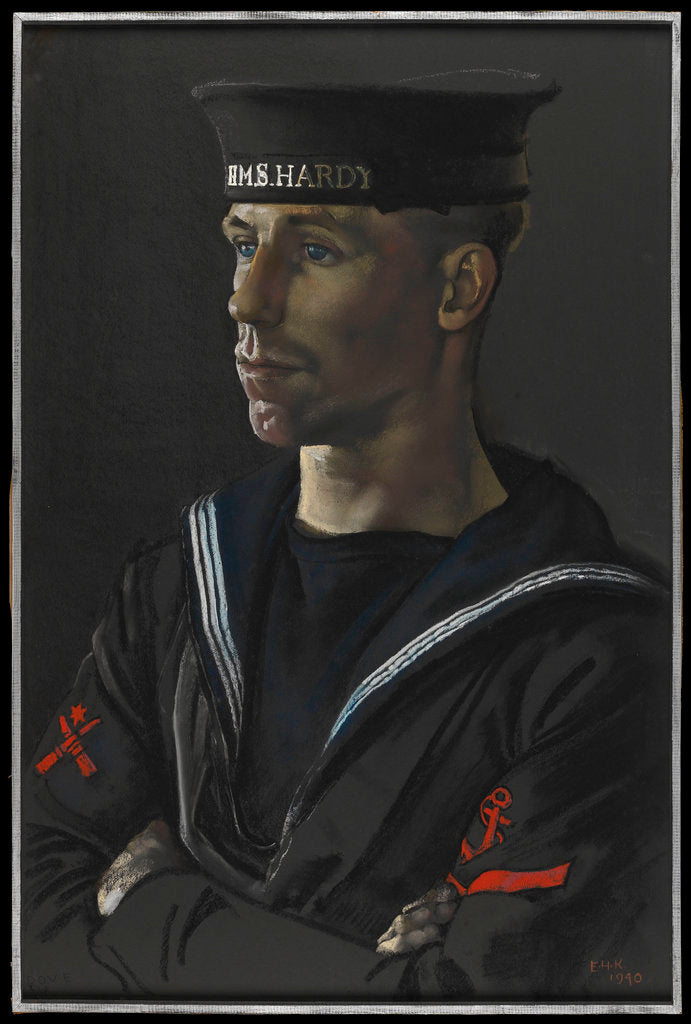 Detail of Portrait of Leading Seaman Dove of HMS 'Hardy', 1940 by Eric H. Kennington