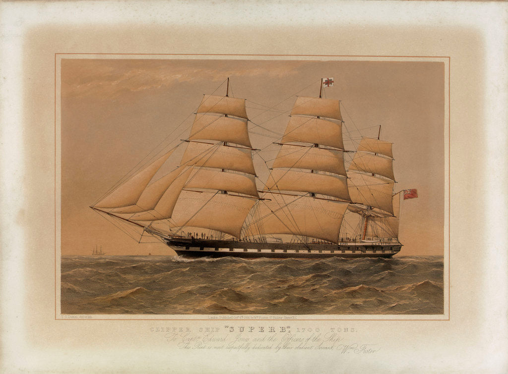 Detail of Clipper ship 'Superb' by Thomas Goldsworth Dutton