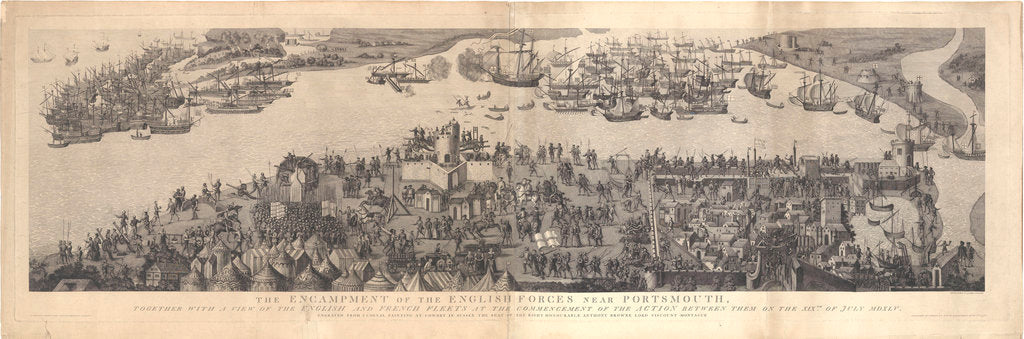 Detail of The Encampment of the English forces near Portsmouth, together with A view of the English and French fleets at the commencement of the Action between them on the XIX of July MDXLV by James Basire