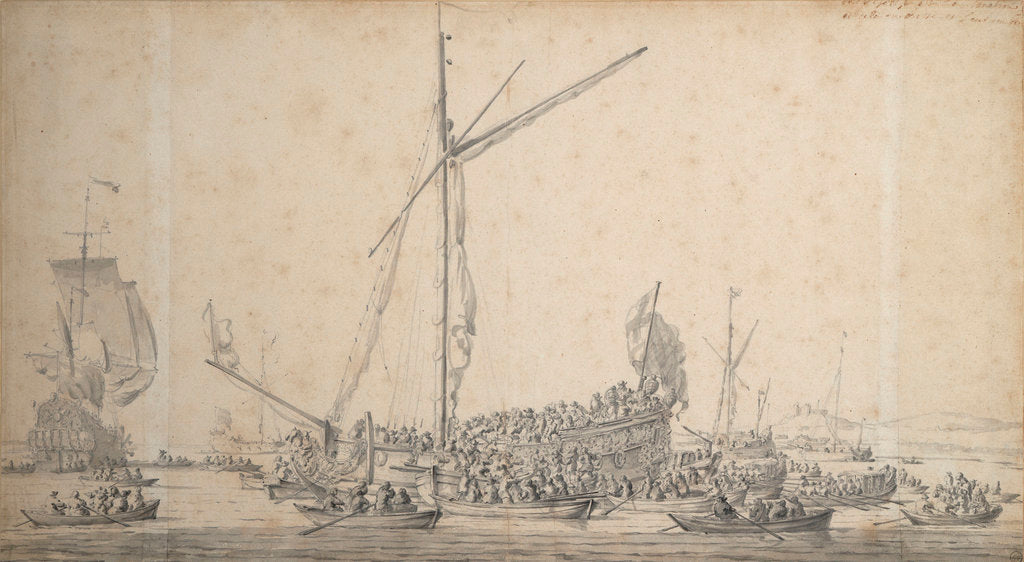 The embarkation of William of Orange and Princess Mary at Margate in November 1677 on their return to Holland after their marriage by Willem van de Velde the Elder