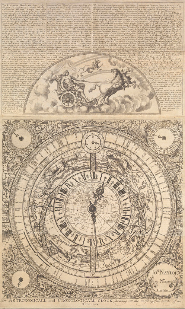Detail of An Astronomical and Cronological Clock showing all the Most Usefull Parts of an Almanack by Jon Naylor