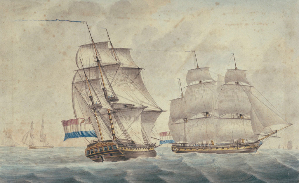 Detail of Two Dutch frigates by unknown