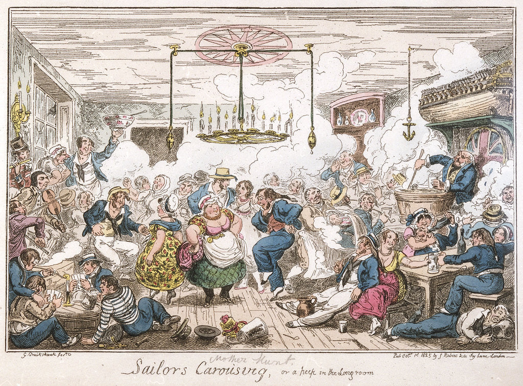 Detail of Sailors carousing, or a peep in the long room by George Cruikshank
