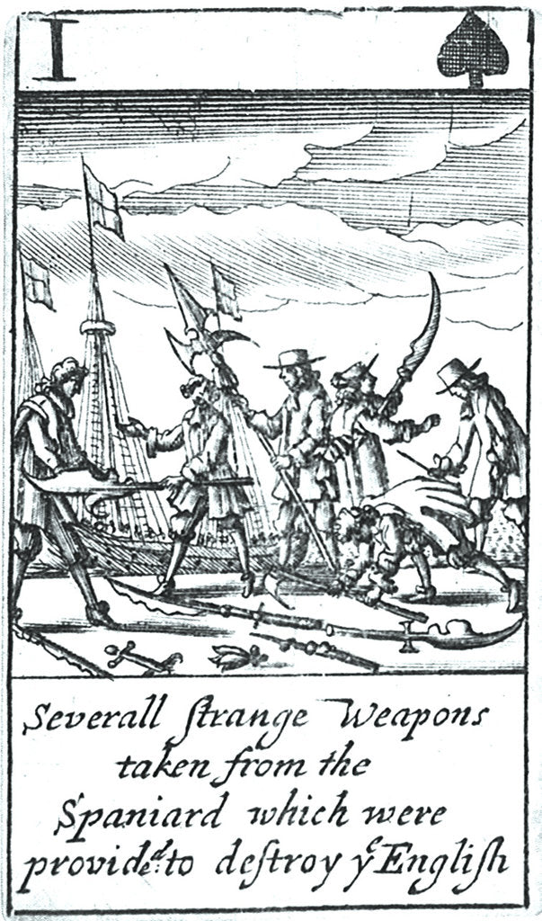 Detail of 1588 Armada Playing Cards, I of Spades. 'Severall Strange Weapons taken from the Spaniard which were provided to destroy ye English' by unknown