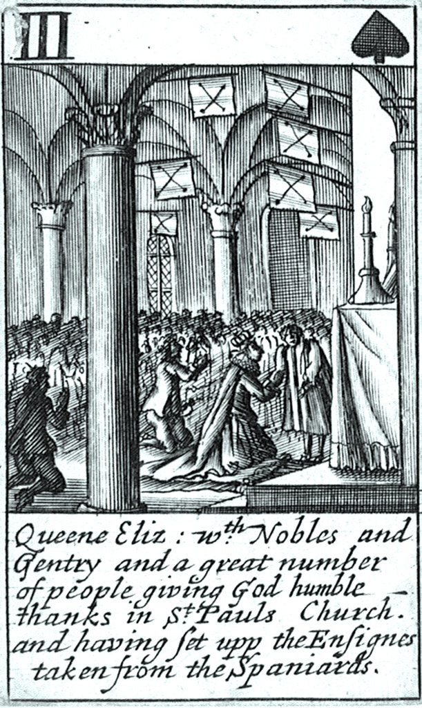 Detail of 1588 Armada Playing Cards, III of Spades. 'Queene Eliz. with Nobles and Gentry and a great number of people giving God humble thanks in St Pauls Church and having set upp the Ensignes taken from the Spaniards' by unknown