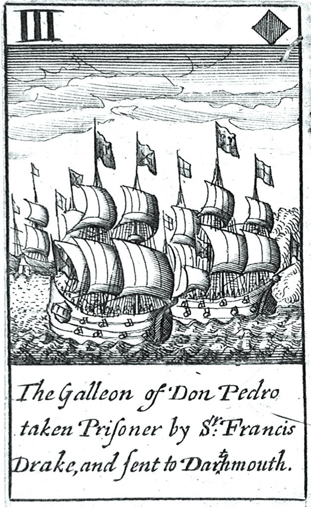 Detail of 1588 Armada Playing Cards, III of Diamonds. 'The Galleon of Don Pedro taken Prisoner by Sr Francis Drake, and sent to Dartmouth' by unknown