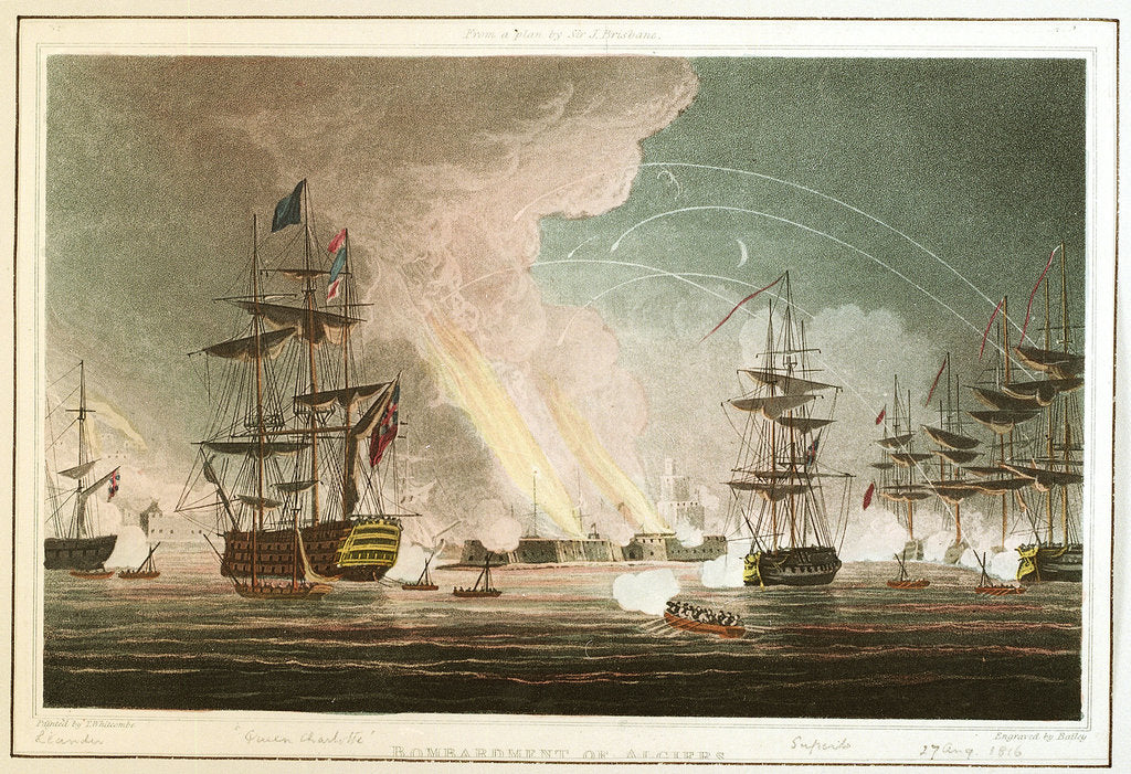 Detail of Bombardment of Algiers. From a plan by Sir J Brisbane by Thomas Whitcombe