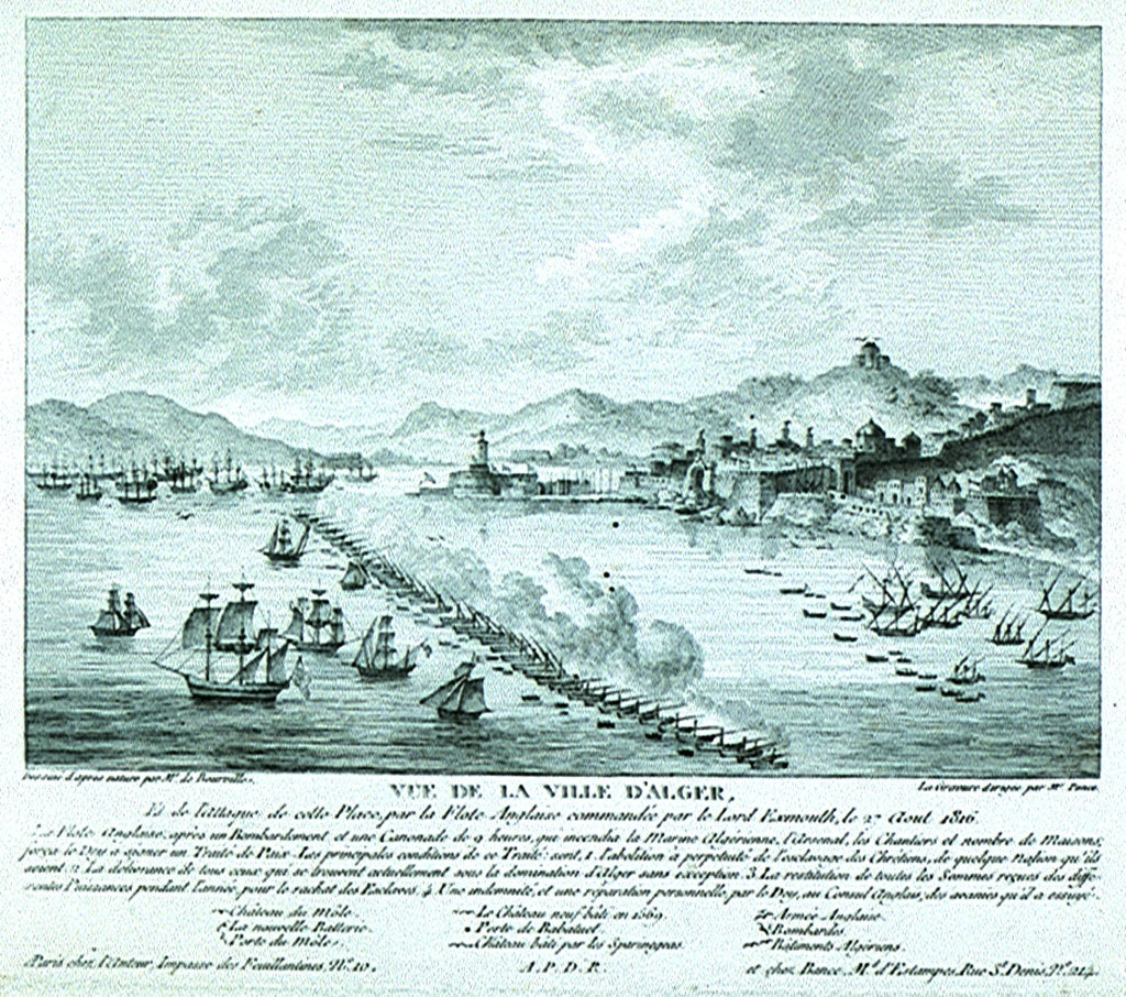 Detail of Print of Lord Exmouth's fleet at the City of Algiers, 27th August 1816 by de Bourville