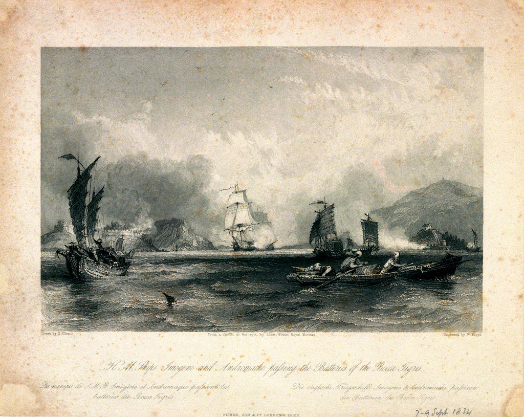 Detail of HMS 'Imogene' and 'Andromache' passing the batteries of the Bocca Tigris by Thomas Allom