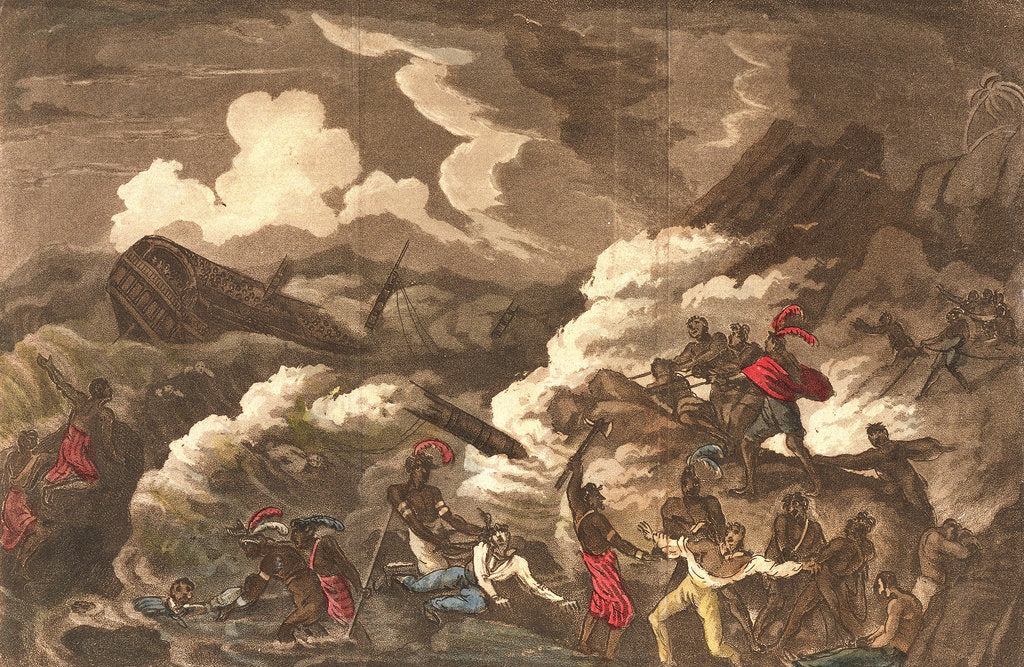 Detail of Loss of HMS 'Litchfield' off the coast of Barbary, 30 November 1758 by unknown