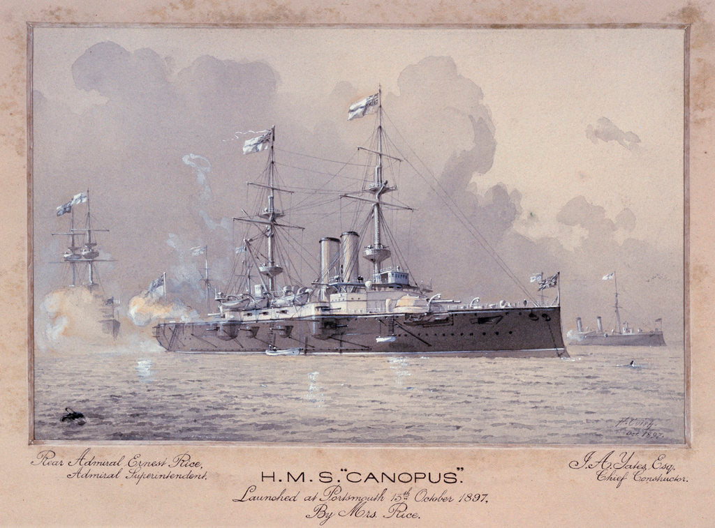 Detail of HMS 'Canopus' launched at Portsmouth 13 October 1897 by H. Coish