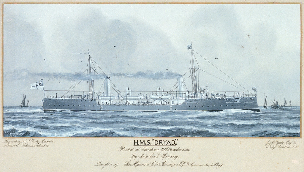 Detail of HMS 'Dryad' floated at Chatham 25 November 1893 by P.A. Chinnery