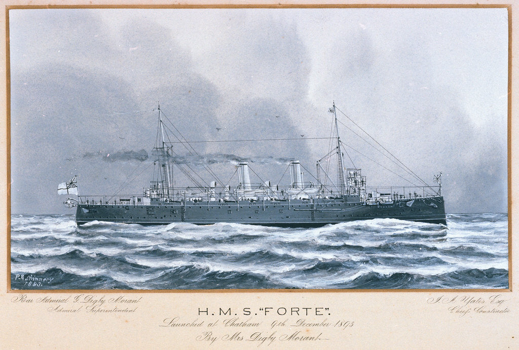 Detail of HMS 'Forte' launched at Chatham 9 December 1893 by P.A. Chinnery