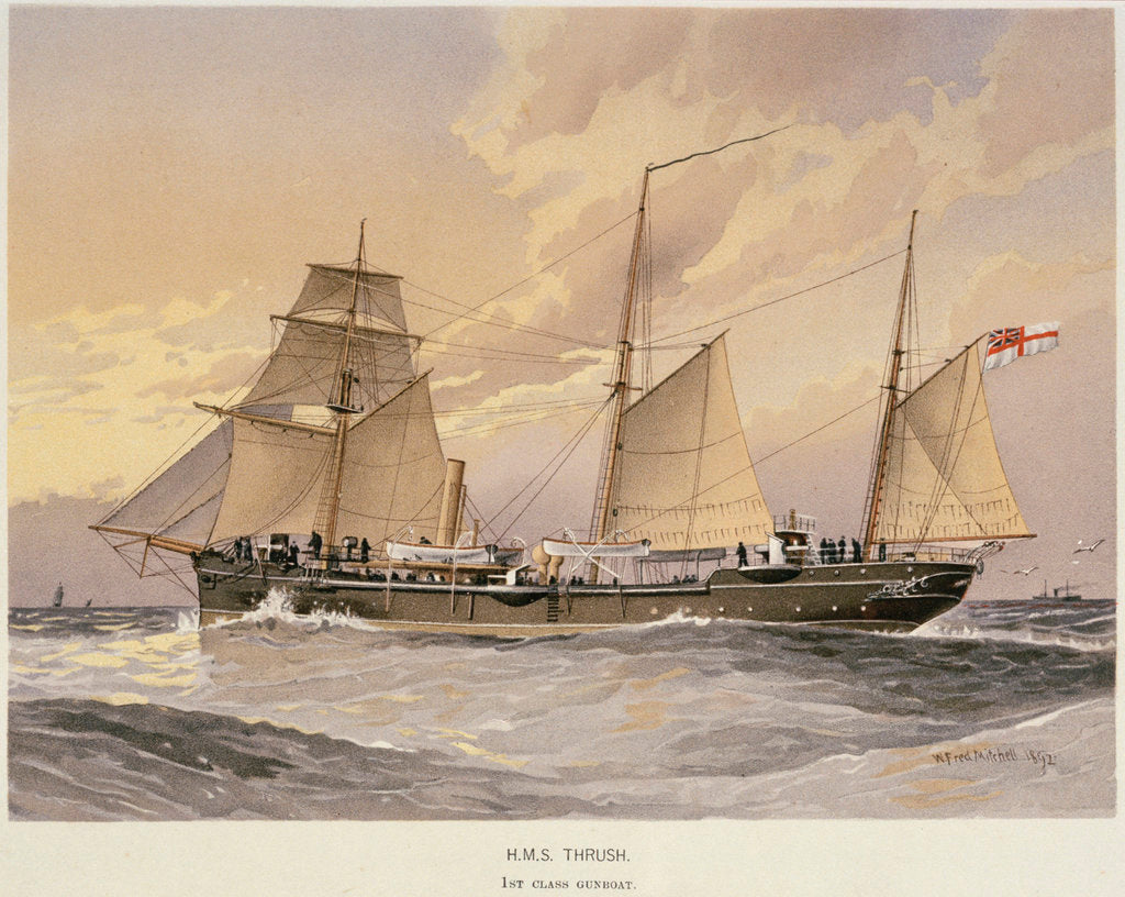 Detail of HMS 'Thrush', First class gunboat by W. Fred Mitchell
