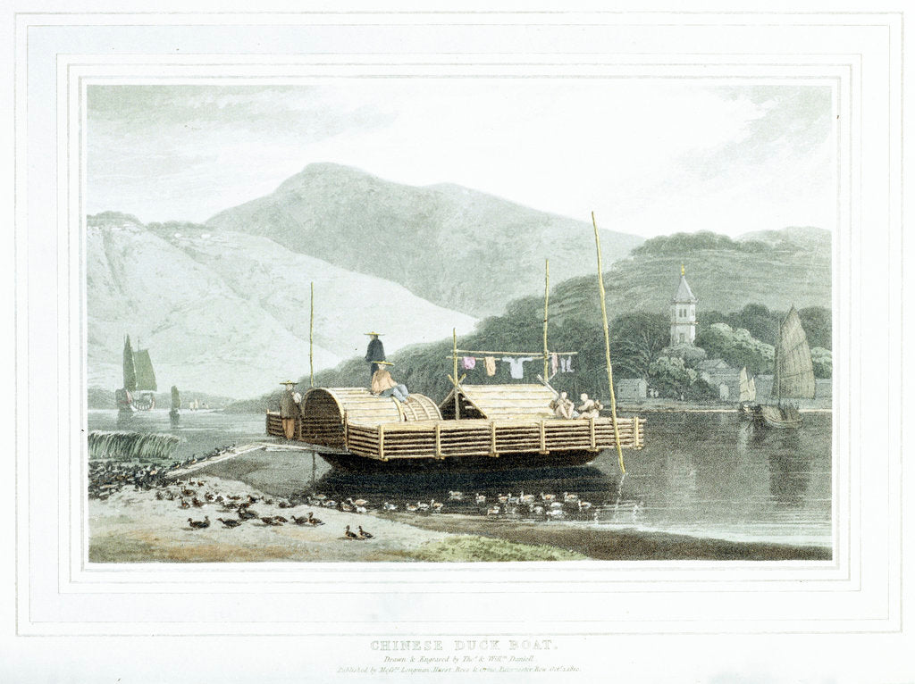 Detail of Chinese duck boat by Thomas Daniell