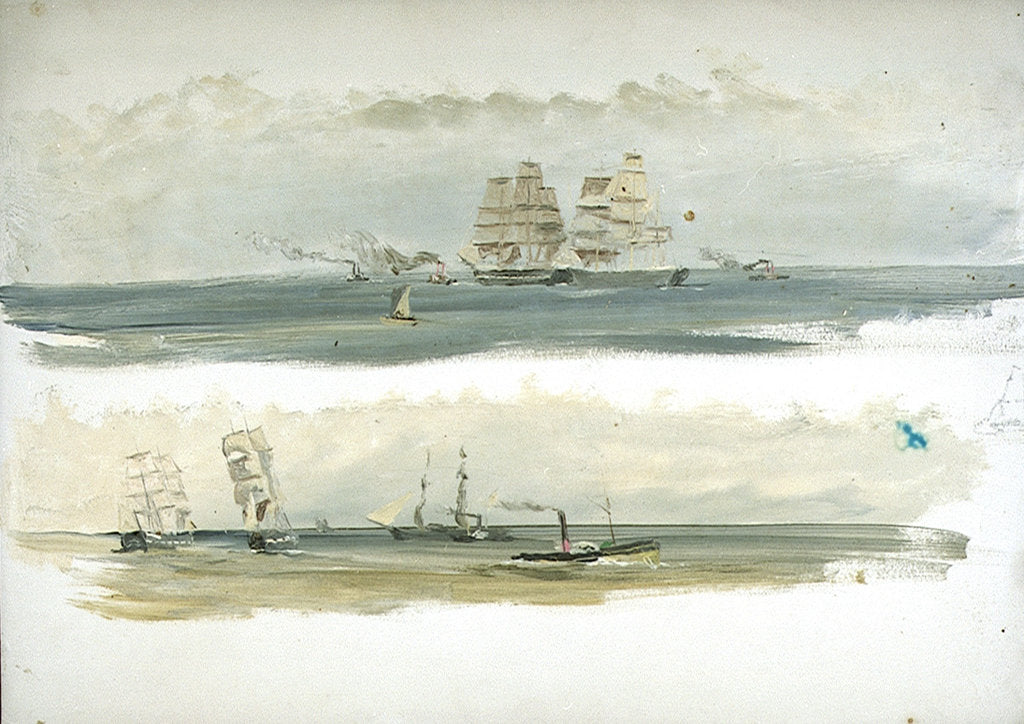 Detail of Two Studies of Ships and Tugs by William Lionel Wyllie