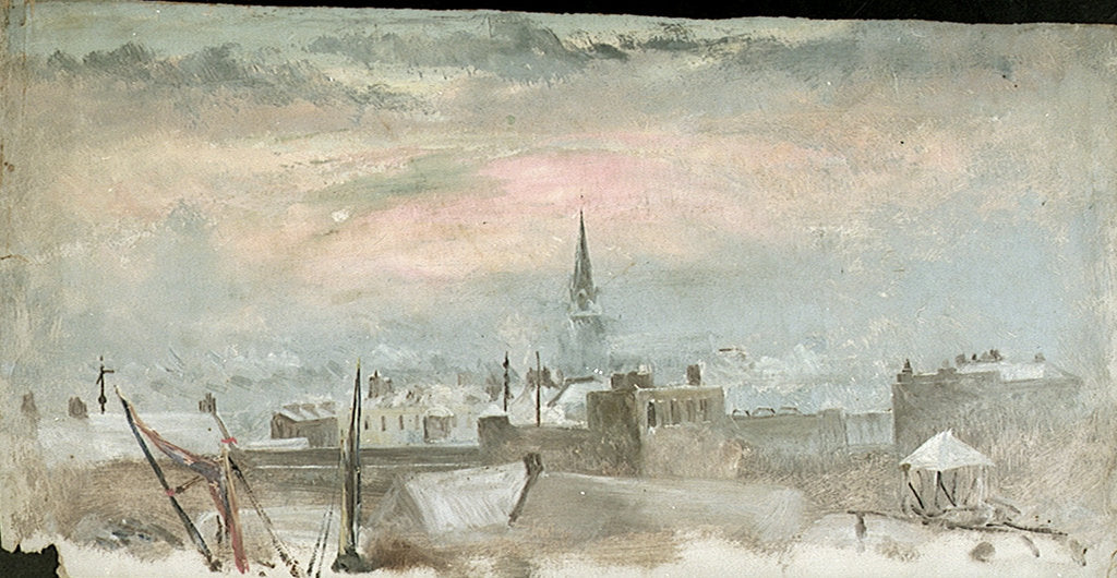 Detail of Study of Rooftops in the Snow by William Lionel Wyllie