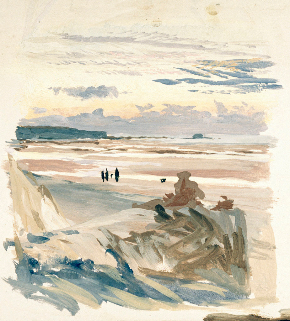 Detail of Figures on a beach, probably at Ambleteuse by William Lionel Wyllie