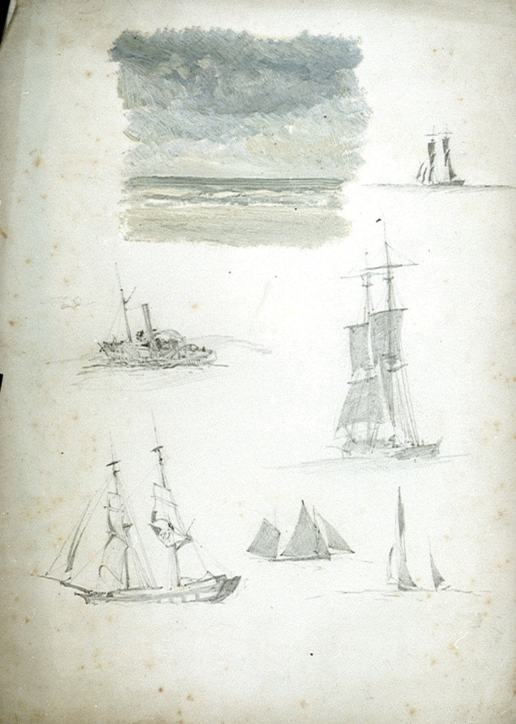 Detail of Study of Sea and Sky, Sailing Ships and a Paddle Steamer by William Lionel Wyllie