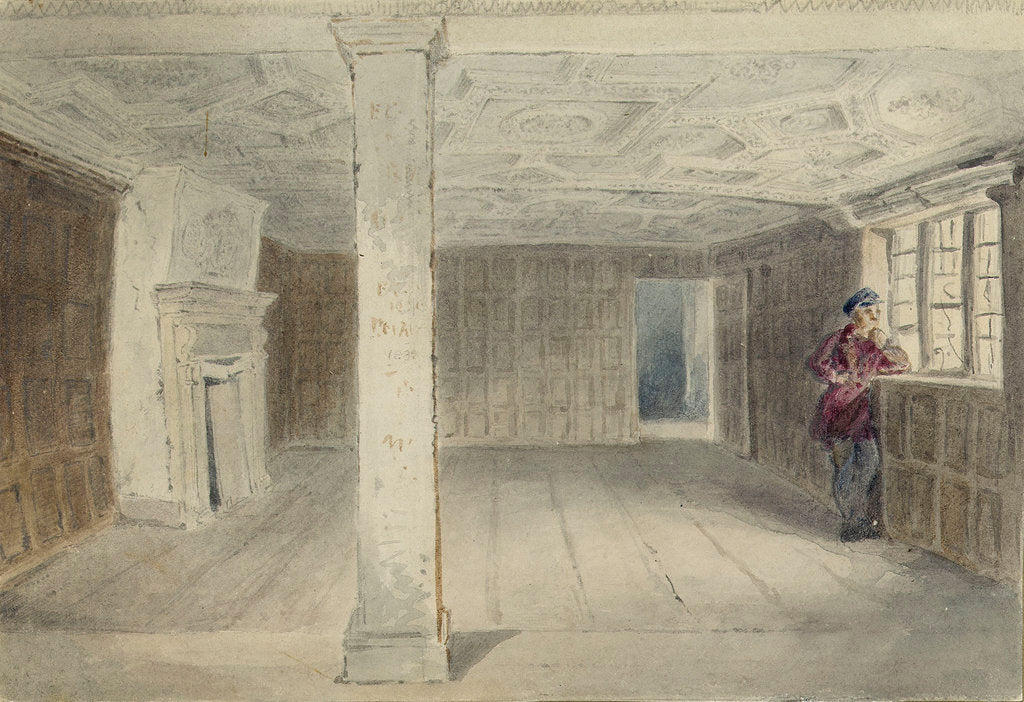 Detail of View of an unfurnished room with ornate ceiling by Edward William Cooke