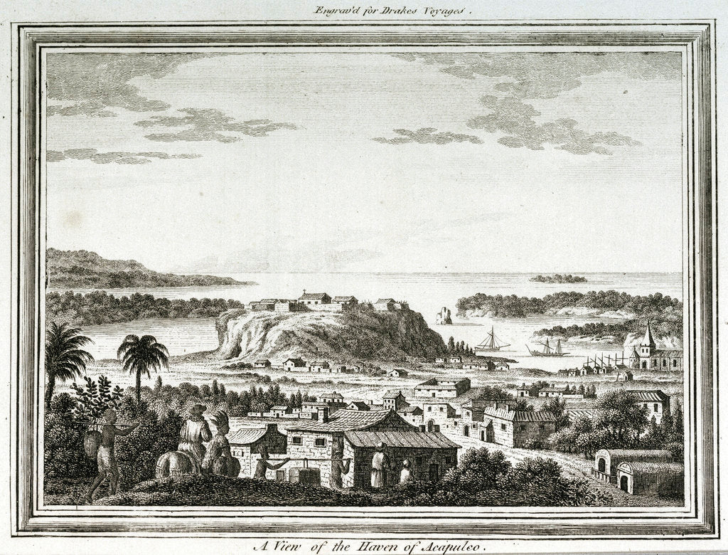 Detail of A view of the haven of Acapulco by unknown